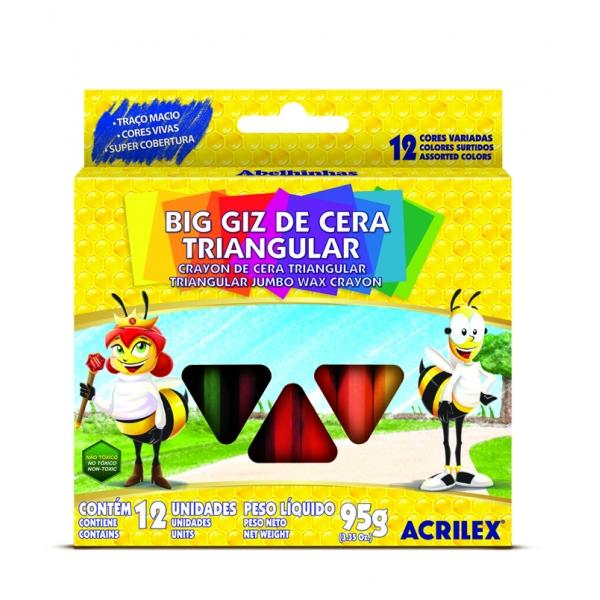 Big Giz de Cera Triangular 12 Cores - Acrilex
