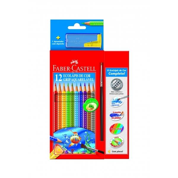 Ecolápis de Cor Grip Aquarelável  12 Cores - Faber-Castell