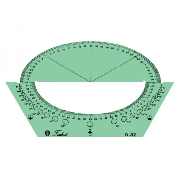 Gabarito de Desenho - Transportador-Isométrico - Trident