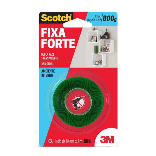 Fita Fixa Forte Transparente Uso Interno  19mm x 2m - 3M