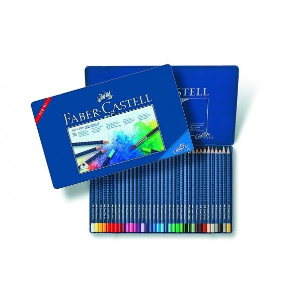 Lápis de Cor Aquarelável Art Grip Aquarelle Estojo Metálico com 36 cores - Faber-Castell