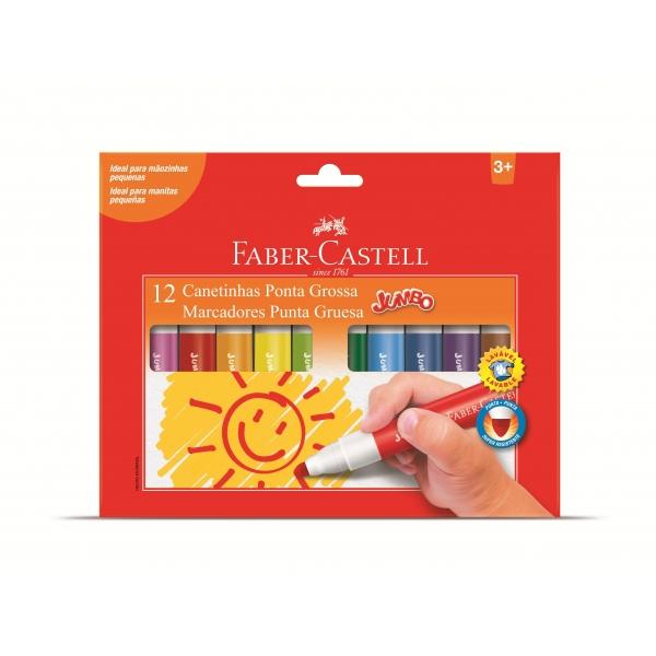 Canetinha Ponta Grossa Jumbo 12 Cores - Faber-Castell