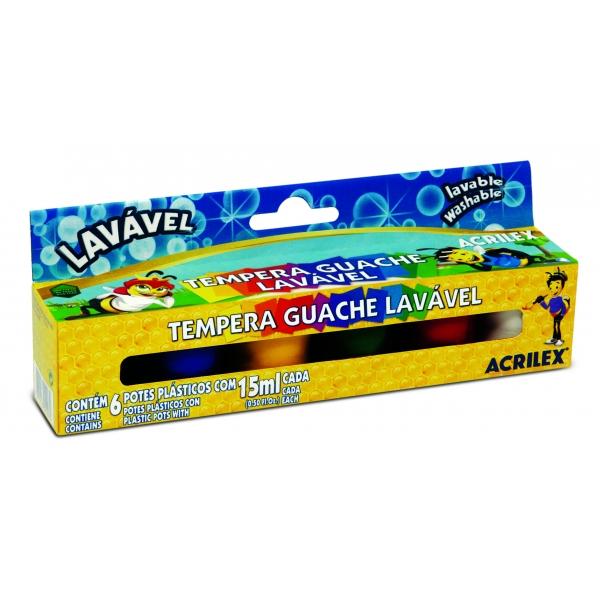 Tempera Guache Lavável 6 Cores - Acrilex
