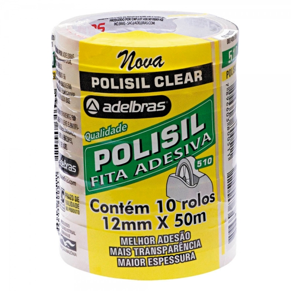 Pacote com 10 rolos de Fita Adesiva Polisil 12mm x 50m - Adelbras