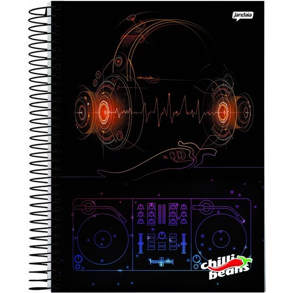 Caderno  Universitário Capa Dura Chilli Beans - 10 Matérias - 200 Folhas - Jandaia