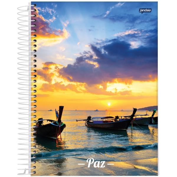 Caderno Universitário Capa Dura Paz - 10 Matérias - 200 Folhas - Jandaia