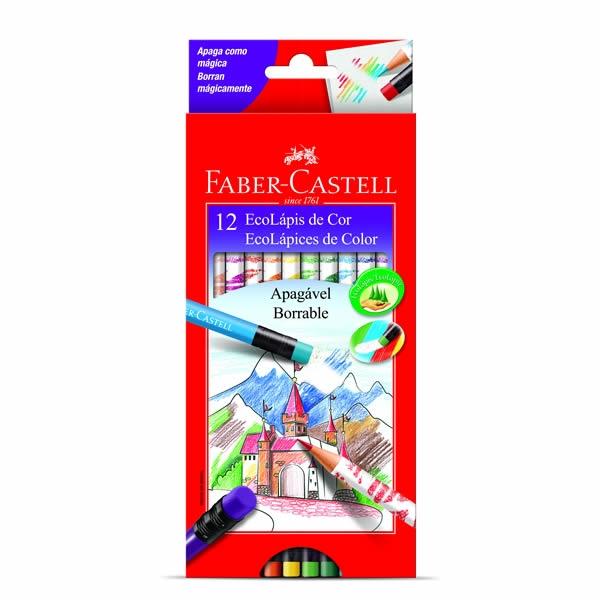 Ecolápis de Cor Apagável 12 Cores - Faber-Castell
