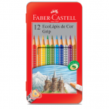 Ecolápis De Cor Grip 12 Cores Estojo Lata - Faber-Castell