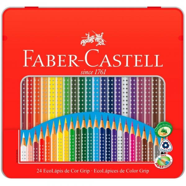 Ecolápis De Cor Grip 24 Cores Estojo Lata - Faber-Castell