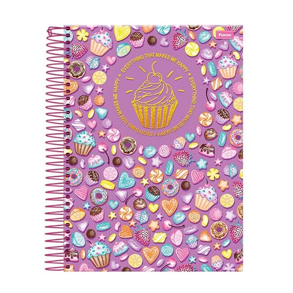 Caderno Universitário Capa Dura Cupcake - 1 Matéria - 96 Folhas - Foroni