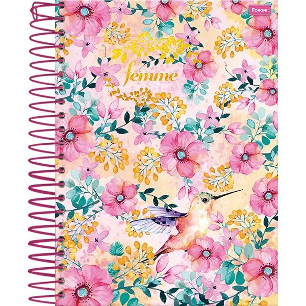 Caderno Universitário Capa Dura Femme - 10 Matérias - 200 Folhas - Foroni