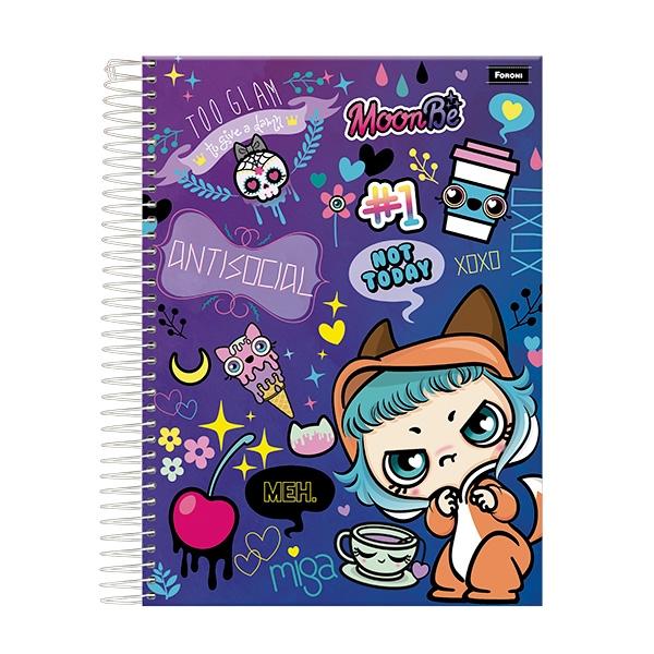 Caderno Universitário Capa Dura Moon Be - 1 Matéria - 96 Folhas - Foroni
