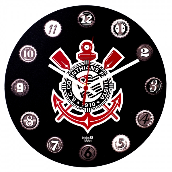 Relógio de Parede MDF 30x30 Corinthians - Uatt?